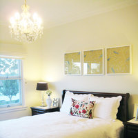 Hang wallpaper in modern custom frames over your headboard to fill that empty space. This is an easy and affordable way to add bold color without wallpapering a whole room.   Click here for more information and design a high-quality white frame online.