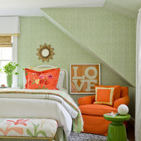 Orange and green is a classic color combination and this bold orange print, in a custom white picture frame, looks great with the green wallpaper and orange chair.  Get started and explore our collection of high-quality custom picture frames online.